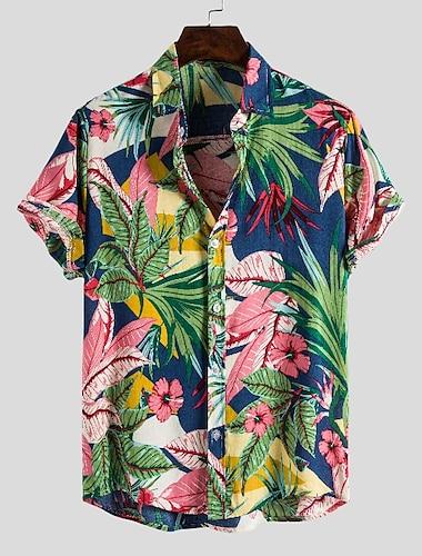 Pánské Košile Květinový Grafika Tisk Krátký rukáv Ležérní Topy prázdniny Šik ven Havajské Plážový styl Límeček s knoflíkem Světle zelená