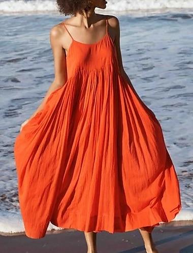 Γυναικεία Φόρεμα με λεπτή τιράντα Φόρεμα μέχρι το γόνατο Θαλασσί Πορτοκαλί Λευκό Μαύρο Μπλε Απαλό Αμάνικο Συμπαγές Χρώμα Καλοκαίρι Λαιμόκοψη V καυτό Σέξι Μπόχο 2021 Τ M L XL XXL 3XL / Βαμβάκι