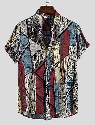 Men\'s Shirt Graphic Short Sleeve Daily Tops Button Down Collar Rainbow
