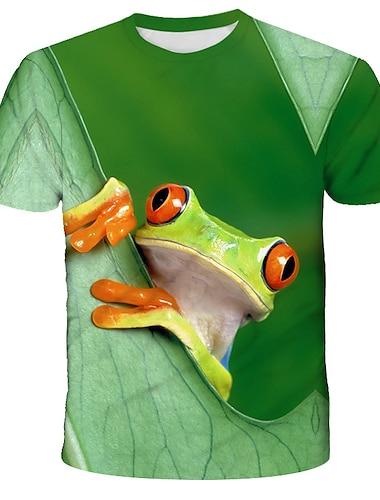 Herre T-shirt Grafisk Dyr Trykt mønster Kortærmet Daglig Toppe Gade overdrevet Rund hals Grøn Sort Rød