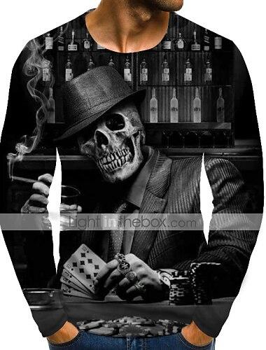Pánské Tričko Košile Grafika Lebky Větší velikosti Tisk Dlouhý rukáv Denní Topy Šik ven Přehnaný Kulatý Duhová