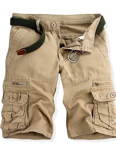 Homme basique Short Pantalon cargo Coton Mince du quotidien Pantalon Couleur Pleine Longueur genou Patchwork Vert Veronese Kaki Noir / Ete
