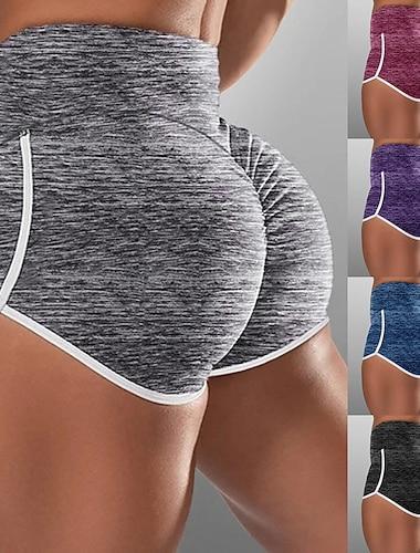 Women\'s High Waist Yoga Shorts Scrunch Butt Ruched Butt Lifting Shorts Tummy Control Butt Lift Fashion Purple Red Blue Cotton Yoga Fitness Running Summer Sports Activewear High Elasticity