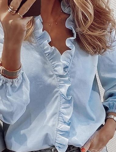 여성용 블라우스 농민 블라우스 셔츠 솔리드 긴 소매 V 넥 탑스 루즈핏 푸른 클로버 오렌지