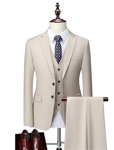 Homens Ternos / Conjuntos Calcas Blazer Colete Solido Nao Trespassado Normal Masculino Terno Azul / Roxo / Vinho - Lapela Chanfrada