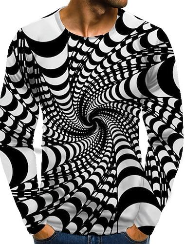 Муж. Футболка Графика 3D-печати Большие размеры С принтом Длинный рукав Повседневные Верхушки Уличный стиль преувеличены Круглый вырез Цвет радуги