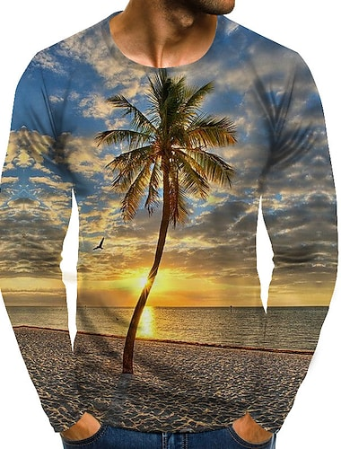 Bărbați Tricou Grafic Decor Mărime Plus Imprimeu Manșon Lung Zilnic Topuri Șic Stradă Exagerat Rotund Curcubeu