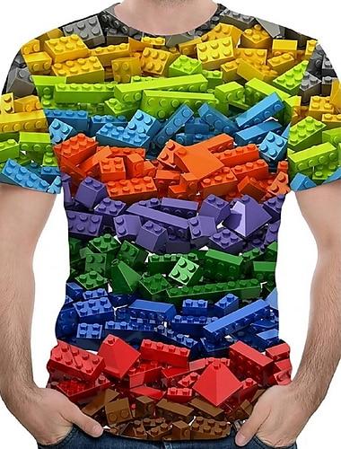 Herre T-shirt Grafisk Trykt mønster Kortærmet Daglig Toppe Rund hals Regnbue