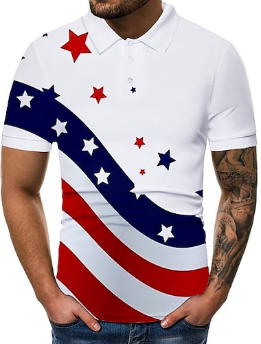 Men\'s Golf Shirt Tennis Shirt Graphic National Flag Print Short Sleeve Daily Tops Basic White