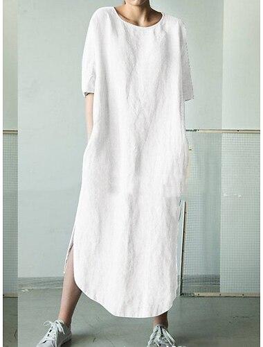 Γυναικεία Φόρεμα ριχτό Μίντι φόρεμα Γκρίζο Χακί Πράσινο του τριφυλλιού Λευκό Μαύρο Σκούρο γκρι Μπλε Απαλό Κοντομάνικο Συμπαγές Χρώμα Καλοκαίρι Στρογγυλή Λαιμόκοψη καυτό Καθημερινό Φαρδιά 2021 Τ M L