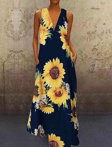 Γυναικεία Φόρεμα ριχτό Μακρύ φόρεμα Κρασί Πράσινο του τριφυλλιού Λευκό Μαύρο Βαθυγάλαζο Αμάνικο Άνθινο / Βοτανικό Λουλουδάτο Άνοιξη Καλοκαίρι Λαιμόκοψη V Καθημερινό Βίντατζ 2021 Τ M L XL XXL 3XL 4XL
