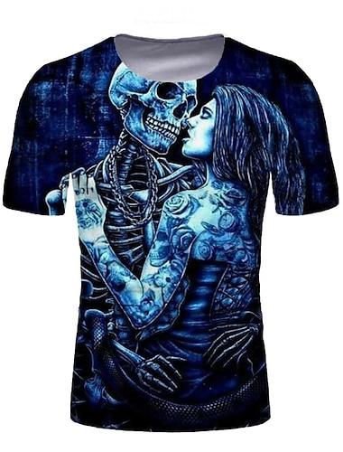 Pánské Tričko Košile Grafika Lebky Tisk Krátký rukáv Denní Topy Kulatý Vodní modrá