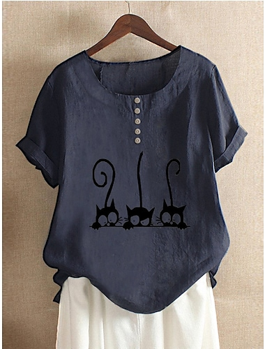 여성용 블라우스 셔츠 고양이 동물 프린트 라운드 넥 베이직 탑스 면 화이트 루비 아미 그린