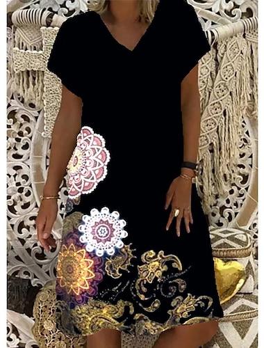 Női Váltó ruha Térdig érő ruha Medence Fekete Rubin Rövid ujjú Virágos Nyomtatott Nyár V-alakú meleg Alkalmi 2021 S M L XL XXL 3XL 4XL 5XL
