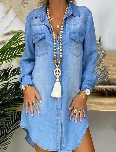 Γυναικεία Φόρεμα τζιν πουκάμισο Φόρεμα μέχρι το γόνατο Μπλε Απαλό Μακρυμάνικο Συμπαγές Χρώμα Τσέπη Μπροστινό κουμπί Άνοιξη Καλοκαίρι Κολάρο Πουκαμίσου Κομψό & Μοντέρνο καυτό Καθημερινό 2021 Τ M L XL