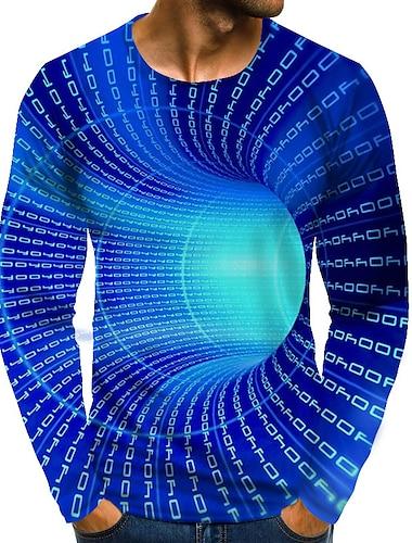 Hombre Camiseta Camisa Grafico de impresion en 3D Tallas Grandes Estampado Manga Larga Diario Tops Chic de Calle Exagerado Escote Redondo Azul Piscina Rosa Verde Trebol