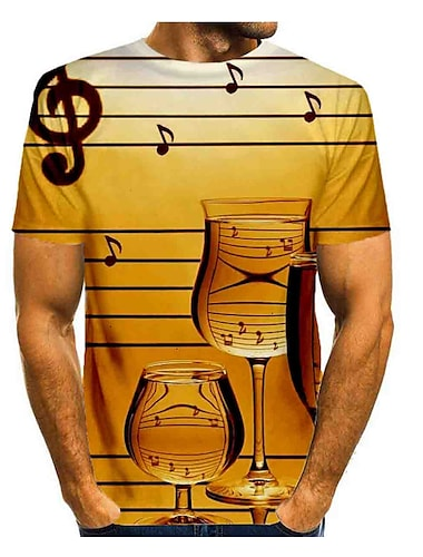 Pánské Tričko Grafika Tisk Krátký rukáv Denní Topy Základní Kulatý Žlutá