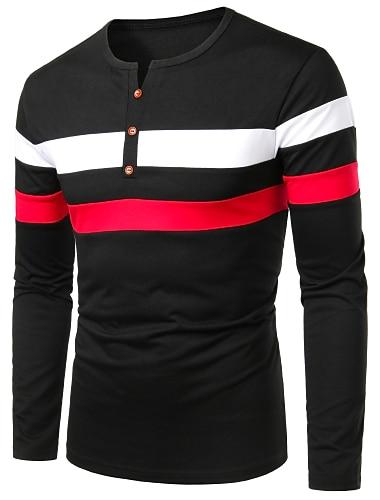 Hombre Camiseta de golf Camiseta de tenis Bloques Retazos Manga Larga Diario Tops Negocios Basico Escote Redondo Negro