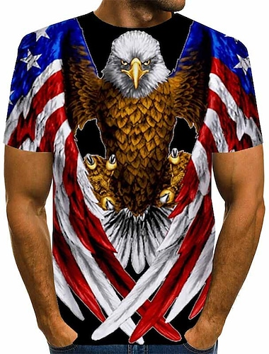 Men's Tee T shirt Shirt Graphic Eagle American Flag Independence Day Animal Plus Size Print Short Sleeve Daily Tops Basic Designer Exaggerated Big and Tall Round Neck Blue Rainbow Red