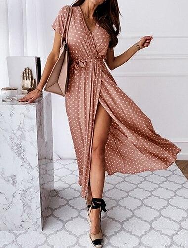 여성용 랩 드레스 맥시 드레스 푸른 블러슁 핑크 다크 그린 그레이 블랙 짧은 소매 도트무늬 스플리트 프린트 봄 여름 V 넥 뜨거운 캐쥬얼 섹시 2021 S M L XL XXL 3XL