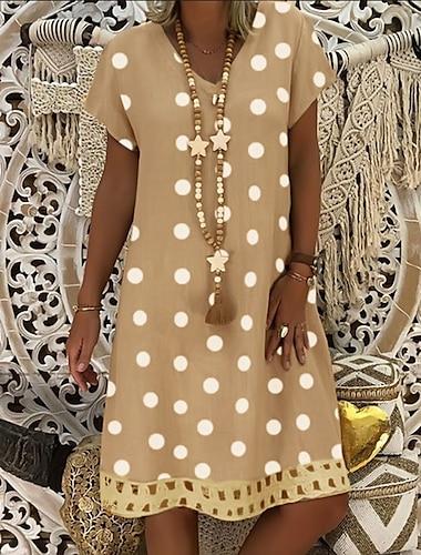 Γυναικεία Φόρεμα ριχτό Φόρεμα μέχρι το γόνατο Θαλασσί Κίτρινο Γκρίζο Χακί Πράσινο Πορτοκαλί Μαύρο Ρουμπίνι Κοντομάνικο Πουά Στάμπα Καλοκαίρι Λαιμόκοψη V καυτό Καθημερινό Αργίες 2021 Τ M L XL XXL 3XL
