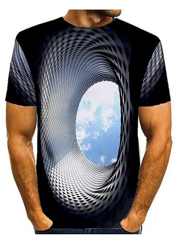 Men\'s T shirt Shirt Graphic Optical Illusion Print Short Sleeve Daily Tops Basic Round Neck Blue Gray Green