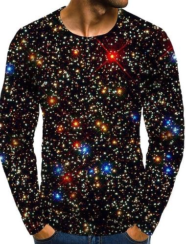 Bărbați Tricou Cămașă Galaxie Grafic Mărime Plus Imprimeu Manșon Lung Zilnic Topuri De Bază Exagerat Rotund Curcubeu