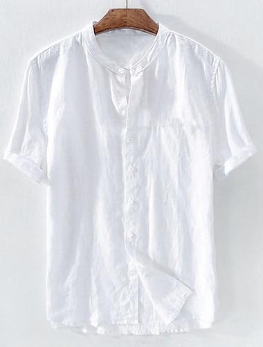 Hombre Camisa Un Color Retazos Manga Corta Oficina / Carrera Tops Algodon Basico Casual / Diario Tejido Oriental Cuello Mao Azul Piscina Blanco