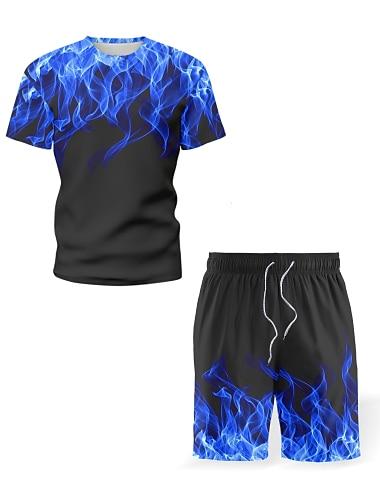 Herr Uppsättning Skjorta Grafisk Låga Tryck Kortärmad Casual Blast Personlig Streetchic 3D Strandstil Rund hals Blå Purpur Gul / Sport