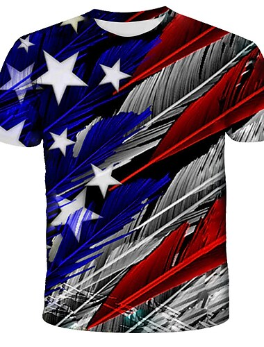 Men\'s Unisex Tee T shirt Shirt 3D Print Graphic Feather American Flag Independence Day Flag Plus Size Print Short Sleeve Daily Tops Streetwear Exaggerated Round Neck Blue Green Rainbow