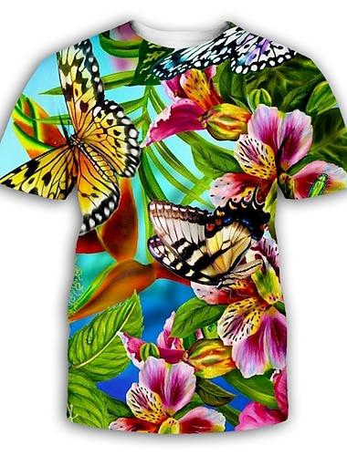 Муж. Футболка Рубашка Графика С принтом С короткими рукавами Для вечеринок Верхушки преувеличены Круглый вырез Цвет радуги