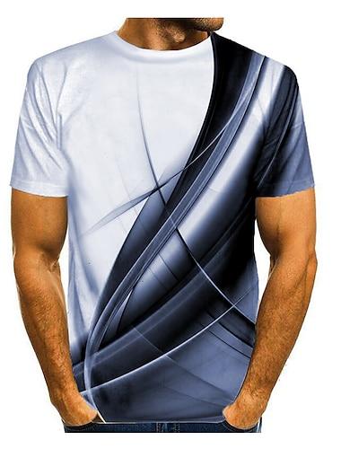 Муж. Футболка Рубашка Галактика Графика 3D-печати С принтом С короткими рукавами Повседневные Верхушки Классический Круглый вырез Лиловый Желтый Синий