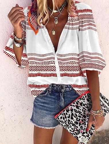 여성용 블라우스 셔츠 그래픽 프린트 V 넥 탑스 루비