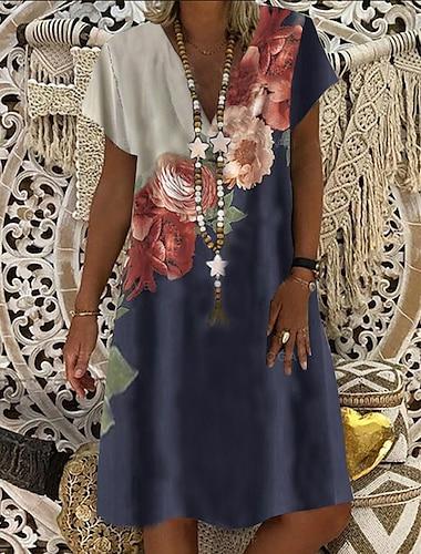 Γυναικεία Φόρεμα ριχτό Φόρεμα μέχρι το γόνατο Θαλασσί Κοντομάνικο Φλοράλ Ρούχα Καλοκαίρι Λαιμόκοψη V καυτό Καθημερινό φορέματα διακοπών 2021 M L XL XXL 3XL