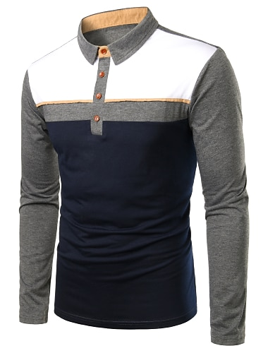 Hombre Camiseta de golf Camiseta de tenis Bloques Retazos Manga Larga Diario Tops Negocios Basico Gris
