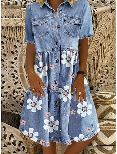 Mujer Vestido camisero vaquero Vestido hasta la Rodilla Azul Piscina Manga Corta Floral Bolsillo Boton Primavera Verano Cuello Camisero Moderno Casual 2021 M L XL XXL 3XL