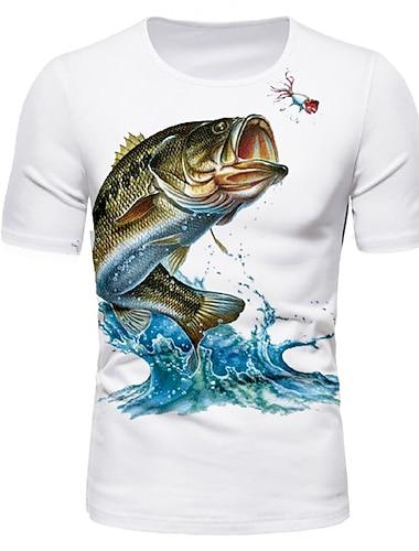Herre T-shirt Skjorte Grafisk Dyr Trykt mønster Kortærmet Daglig Toppe Basale Rund hals Hvid