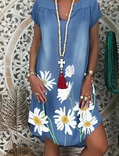 Women\'s Shift Dress Knee Length Dress White Light Blue Short Sleeve Floral Print Summer V Neck Hot Casual 2021 M L XL XXL 3XL / Denim