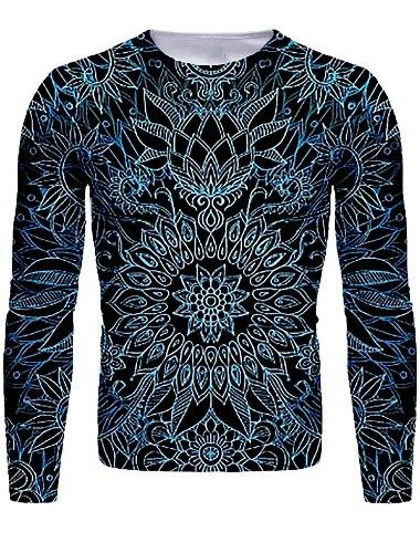 Hombre Camiseta Camisa Impresion 3D Floral Grafico Manga Larga Diario Tops Basico Escote Redondo Azul polvoriento