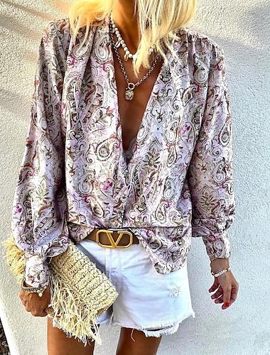 여성용 데이트 블라우스 셔츠 페이즐리 긴 소매 프린트 V 넥 우아함 보호 탑스 랜턴 슬리브 쉬폰 블러슁 핑크