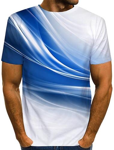 Bărbați Tricou Cămașă Grafic Imprimeu Manșon scurt Zilnic Topuri Șic Stradă Rotund Albastru piscină Trifoi Portocaliu