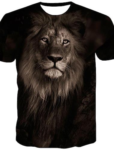 Homens Camiseta Camisa Social Grafico Animal Estampado Manga Curta Diario Blusas Moda de Rua Decote Redondo Preto
