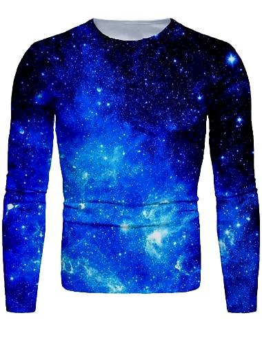 Bărbați Tricou Cămașă Tipărire 3D Galaxie Grafic Manșon Lung Zilnic Topuri De Bază Rotund Albastru piscină