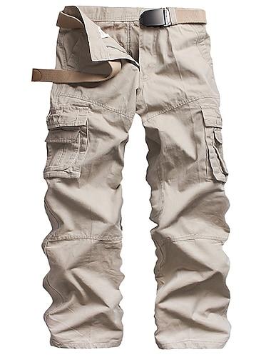 Bărbați De Bază Exterior Pantaloni de marfă Bumbac Zvelt Zilnic Pantaloni Mată Lungime totală Clasic Verde Militar Kaki Alb Negru Gri Închis / Toamnă / Iarnă
