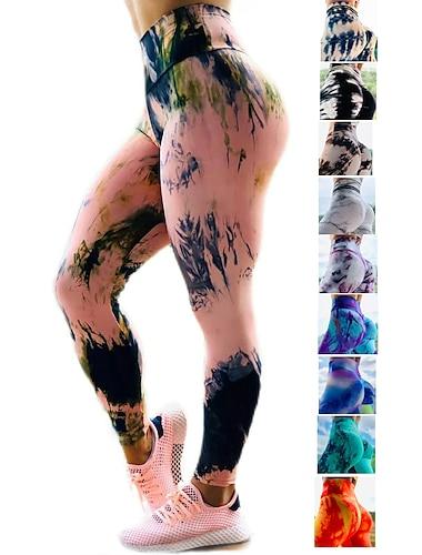 Women\'s High Waist Yoga Pants Scrunch Butt Ruched Butt Lifting Tights Leggings Bottoms Tummy Control Butt Lift 4 Way Stretch Tie Dye Dark Yellow Black / Red Black / Yellow Fitness Gym Workout Running