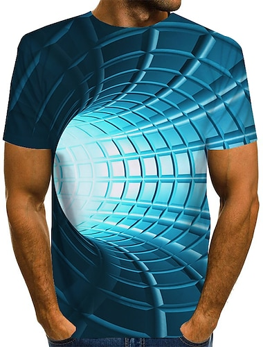 Men\'s Tee T shirt 3D Print Graphic Optical Illusion Print Short Sleeve Daily Tops Basic Designer Exaggerated Round Neck Blue Purple Red