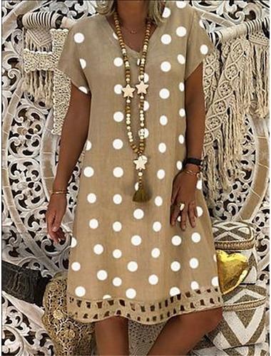 Γυναικεία Φόρεμα για τον ήλιο Φόρεμα μέχρι το γόνατο Κίτρινο Πράσινο Χακί Χακί Μαύρο Ρουμπίνι Μπλε Απαλό Αμάνικο Πουά Στάμπα Καλοκαίρι Λαιμόκοψη V καυτό Καθημερινό 2021 Τ M L XL XXL 3XL 4XL