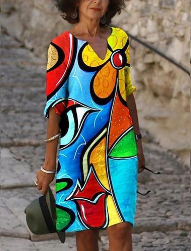 Női Váltó ruha Térdig érő ruha Medence Hosszú ujj Nyomtatott Nyomtatott Ősz V-alakú meleg Szüret Szexi Szabadság Alkalmi vakációs ruhák Bő 2021 S M L XL XXL 3XL 4XL 5XL