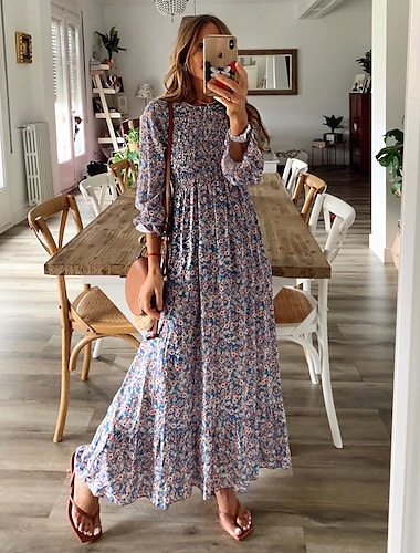Γυναικεία Φόρεμα ριχτό από τη μέση και κάτω Μακρύ φόρεμα Ουράνιο Τόξο Μακρυμάνικο Φλοράλ Σουρωτά Πλισέ Στάμπα Φθινόπωρο Άνοιξη Στρογγυλή Λαιμόκοψη Ώμοι Έξω καυτό Βίντατζ Σέξι Εξόδου Μανίκι Flare Cuff