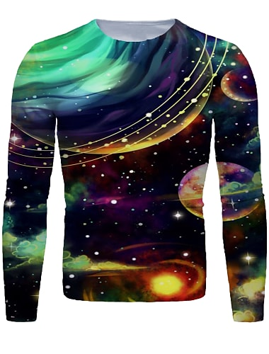 Homens Camiseta Camisa Social Impressao 3D Galaxia Grafico Manga Longa Diario Blusas Basico Decote Redondo Preto